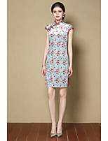 Women's Going out Sheath Dress,Print Stand Above Knee Short Sleeves Silk Fall Mid Rise Micro-elastic Medium