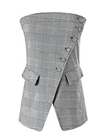 Women's Holiday Going out Casual/Daily Simple Cute Street chic Summer Fall Tank Top,Houndstooth Strapless Sleeveless Polyester Others