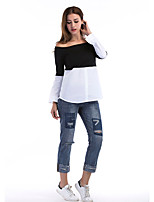 Women's Holiday Casual/Daily Simple Street chic Fall T-shirt,Color Block Boat Neck Long Sleeves Polyester