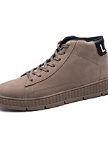 Men's Shoes PU Canvas Spring Fall Comfort Sneakers Lace-up For Casual Outdoor Khaki Gray Black