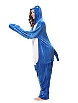 Kigurumi Pajamas Shark Leotard/Onesie Festival/Holiday Animal Sleepwear Halloween Blue Animal Flannel Kigurumi For Unisex Halloween