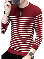 Men's Plus Size Casual/Daily Simple Boho Street chic Long Pullover,Striped Print Color Block Round Neck Long Sleeves Cotton Fall Winter
