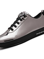 Women's Shoes PU Spring Fall Comfort Sneakers Flat Heel Round Toe Lace-up For Casual Outdoor Blue Silver Black Gold