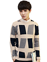 Men's Plus Size Going out Casual/Daily Vintage Simple Street chic Regular PulloverSolid Striped Print Round Neck Long Sleeves Cotton