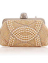 Women Bags All Seasons Polyester Evening Bag Crystal Detailing Pearl Detailing for Wedding Event/Party Champagne White