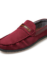 Men's Loafers & Slip-Ons Comfort Spring Fall Nubuck leather Nylon Casual Flat Heel Wine Dark Blue Black Flat