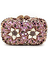 Women Bags All Seasons Metal Evening Bag Crystal Detailing Pattern / Print for Wedding Event/Party Purple