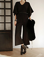 Women's Holiday Work Simple Spring Hoodie Pant Suits,Solid V Neck ¾ Sleeve Stretchy