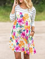 Damen Hülle Kleid-Ausgehen Lässig/Alltäglich Boho Street Schick Gestreift Einfarbig Rundhalsausschnitt Mini Langarm Polyester Frühling