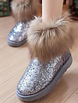 Feminino Sapatos Courino Inverno Conforto Botas Rasteiro Ponta Redonda Para Casual Preto Cinzento
