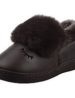 Boys' Shoes PU Velvet Winter Fur Lining Fluff Lining Comfort Novelty First Walkers Slippers & Flip-Flops Pom-pom For Casual Dark Purple