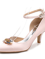 Women's Shoes Silk Spring Fall Basic Pump Ankle Strap Wedding Shoes Cone Heel Pointed Toe Rhinestone Crystal Sparkling Glitter For