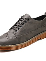 Men's Shoes PU Spring Fall Comfort Oxfords Lace-up For Casual Brown Coffee Gray Black