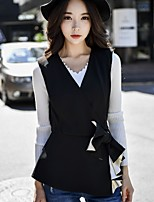 DABUWAWA Women's Going out Work Vintage Active Sophisticated Fall Winter VestSolid V Neck Sleeveless Regular Polyester Spandex Bow