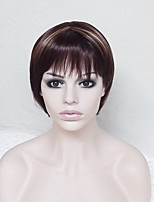 cheap -Synthetic Hair Wigs kinky straight Highlighted/Balayage Hair Bob Haircut With Bangs Capless Party Wig Natural Wigs Short Brown