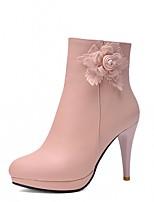 Для женщин Обувь Дерматин Осень Зима Удобная обувь Оригинальная обувь Ботильоны Ботинки На шпильке Круглый носок Ботинки Цветы Назначение