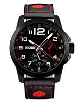 skmei mode homme hommes montres décontractées en quartz montres bracelet en cuir véritable entreprise montres-bracelets sports 50m étanche