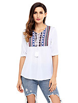 Women's Holiday Going out Cute Fall T-shirt,Print V Neck 3/4 Length Sleeves Polyester Spandex Medium