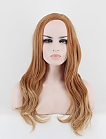 Women Synthetic Wig Capless Medium Wavy Golden Brown Natural Wigs Costume Wig