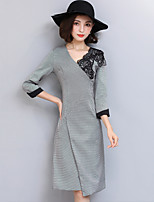 Women's Plus Size Going out Street chic Shift Sheath Dress,Embroidered V Neck Knee-length 3/4 Length Sleeves Polyester Fall Mid Rise