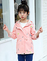 Girls' Patchwork Embroidered Trench Coat,Cotton Spring Fall Long Sleeve