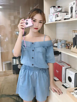 Women's Casual/Daily Simple Summer Shirt Pant Suits,Solid Strap Short Sleeve Micro-elastic