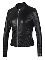Women's Going out Casual/Daily Simple Street chic Spring Fall Leather Jacket,Solid Stand Long Sleeve Regular Others