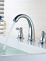 Widespread Widespread with  Brass Valve Two Handles Three Holes for  Chrome , Bathroom Sink Faucet