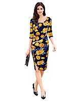 Women's Party Plus Size Vintage Sheath Dress,Floral Round Neck Knee-length 3/4 Length Sleeves Polyester Spandex All Seasons Mid Rise