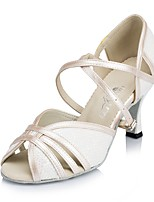 Women's Latin Leatherette Professional Buckle Customized Heel White 1