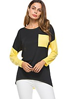 Women's Casual/Daily Simple Spring Fall T-shirt,Color Block Round Neck Long Sleeves Cotton Rayon Thin