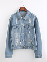 Women's Going out Street chic Winter Denim Jacket,Print Shirt Collar Long Sleeve Regular Cotton