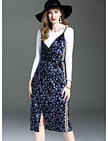 ANGEL Women's Going out Cute Fall T-shirt Skirt SuitsPrint Round Neck Long Sleeve Micro-elastic