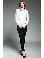 SHE IN SUN Women's Casual/Daily Work Simple Spring Shirt,Print Shirt Collar Long Sleeves Polyester Thin