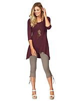 Women's Casual/Daily Work Simple Spring Fall T-shirt,Color Block Round Neck Long Sleeves Rayon Thin Medium
