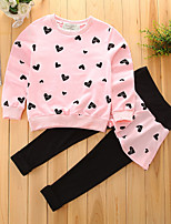 Girls' Geometic Sets,Cotton Spring Fall Long Sleeve Clothing Set