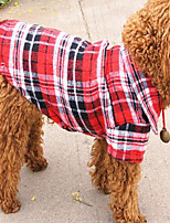 Dog Shirt / T-Shirt Dog Clothes Casual/Daily Plaid/Check Red Green Blue