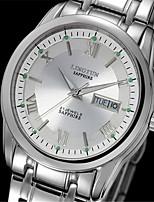Herrn Mechanische Uhr Automatikaufzug Kalender Wasserdicht Nachts leuchtend Legierung Band Silber