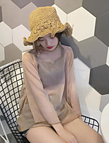 Women's Going out Simple T-shirt,Solid Round Neck Long Sleeves Linen