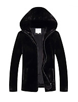 Men's Regular Padded CoatSimple Plus Size Solid-Faux Fur Polyester Long Sleeves