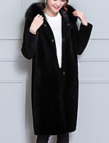 Women's Party Plus Size Work Vintage Street chic Sophisticated Winter Fur Coat,Solid Hooded Long Sleeve Long Others Fox Fur