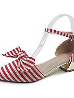Femme Chaussures Toile Eté Confort Semelles Légères Chaussures à Talons Gros Talon Bout pointu Lacet Pour Décontracté Habillé Noir Rouge