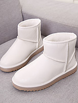 Women's Shoes PU Winter Snow Boots Boots Low Heel Round Toe Mid-Calf Boots For Casual Outdoor Camel Brown Beige Black White