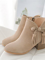 Women's Shoes Cowhide Fall Winter Comfort Boots Chunky Heel Round Toe For Casual Almond Black