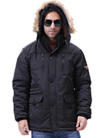 Men's Regular Padded Coat,Simple Plus Size Solid-Polyester Cotton Long Sleeves