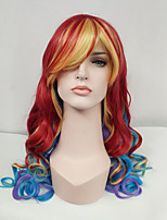 Women Synthetic Wig Capless Long Wavy Rainbow With Bangs Cosplay Wig Costume Wig