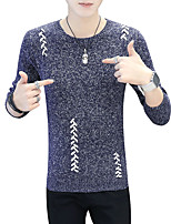 Men's Casual/Daily Work Simple Boho Street chic Regular Pullover,Solid Print Color Block Round Neck Long Sleeves Cotton Fall Winter Medium