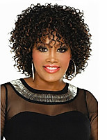 Women Synthetic Wig Capless Short Curly Brown Ombre Hair Natural Wigs Costume Wig