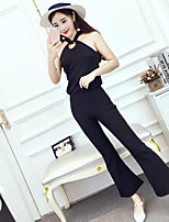 Women's Casual/Daily Simple Summer Tank Top Pant Suits,Solid Halter Sleeveless Micro-elastic