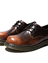 Men's Shoes Cowhide Fall Winter Comfort Oxfords For Casual Outdoor Red Brown Gray Black